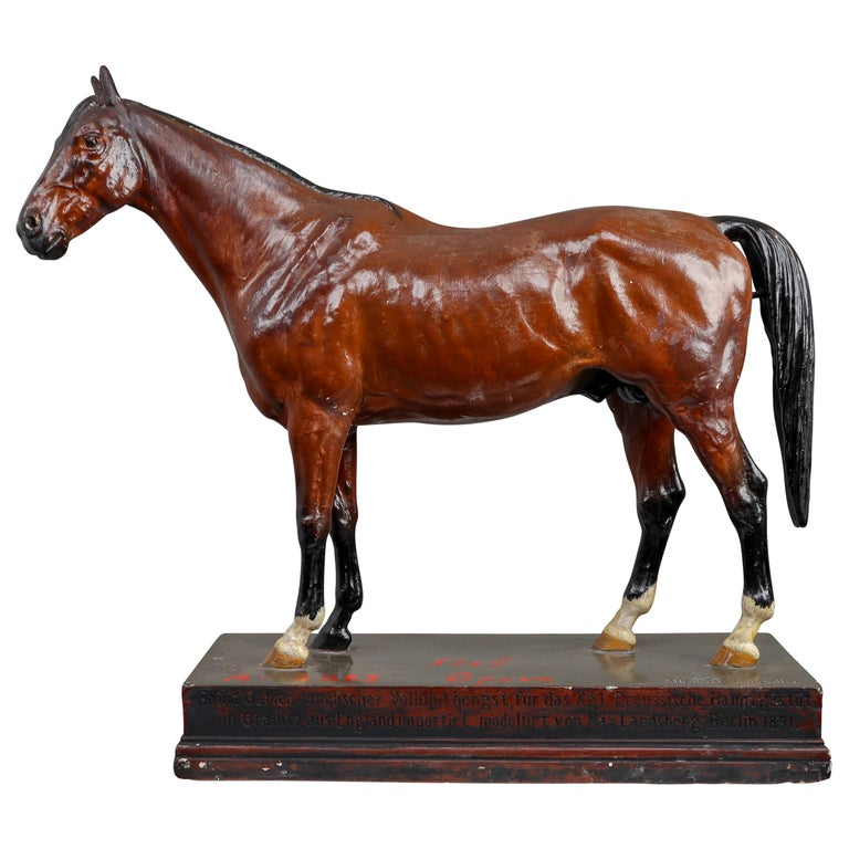 Thoroughbred Mare Horse Model in Painted Plaster by Max Landsberg, Berlin 1891 For Sale