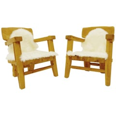 Pair of Scandinavian Solid Wood Armchairs