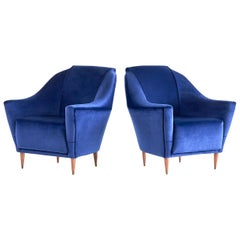 Pair of Ico Parisi Armchairs in Blue Velvet for Ariberto Colombo, Italy, 1951