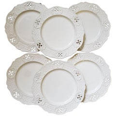 Set of Six European Creamware Openwork Dessert Plates, Possibly Waechtersbach