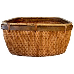 Handwoven Cane and Rattan Basket