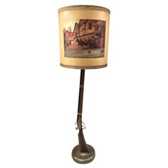 Floor Lamp Depicting a Rifle with a Midcentury Printed Lampshade