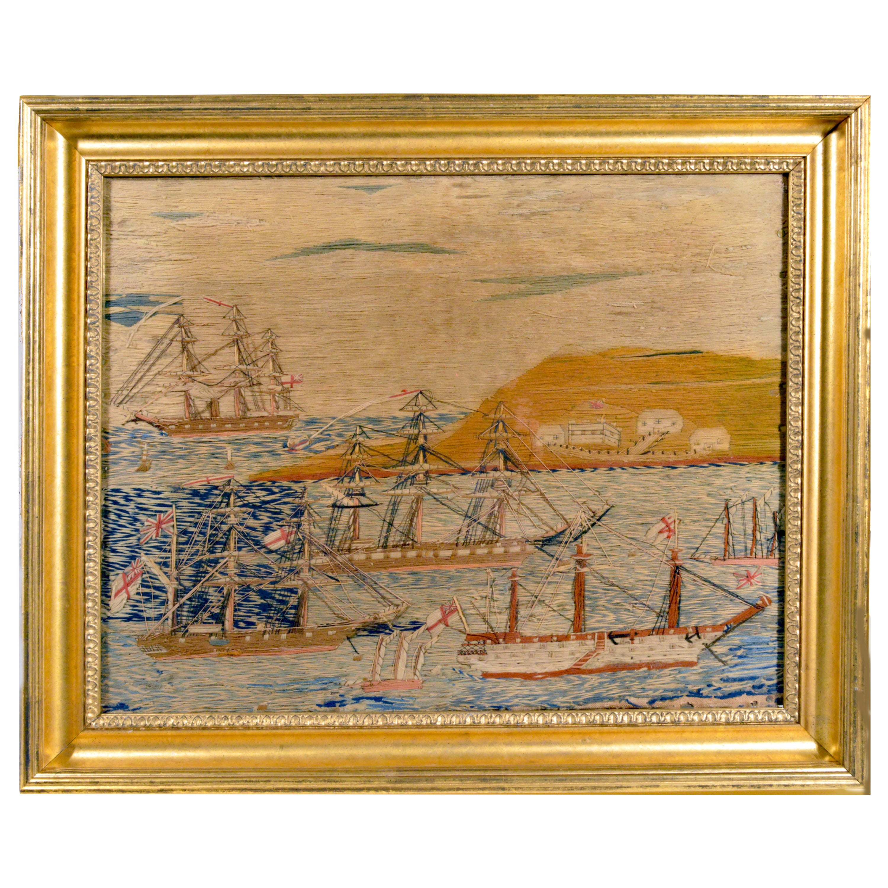 English Sailor's Woolwork or Woolie with Multiple Ships in a Bay, circa 1875