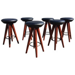Set of Six Leather and Wood Bar Stools