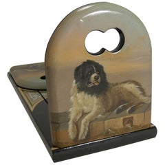 Hand Painted Book Slide / Bookends Dog, After Sir Edwin Henry Landseer
