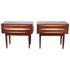 Arne Vodder Style Mid-Century Modern Walnut Nightstands, Pair