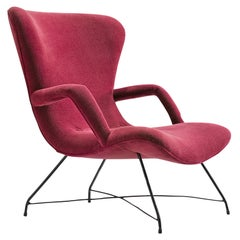 Eisler & Hauner Pair of Reupholstered Burgundy Chair, 1950s