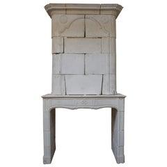 18th Century Limestone Mantel with Trumeau