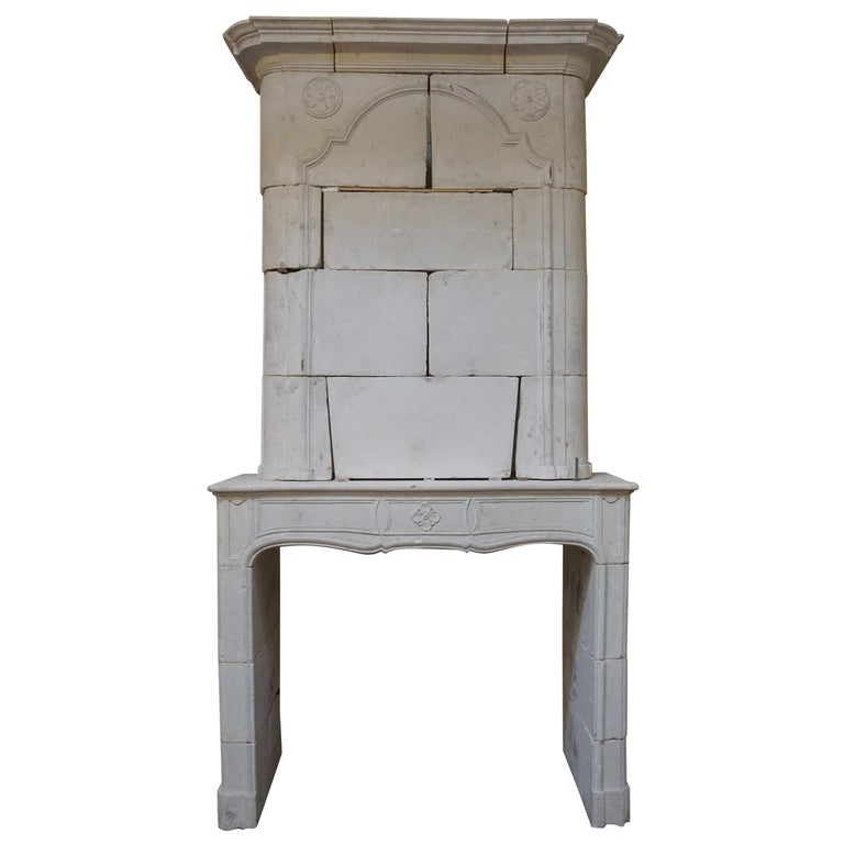 18th Century Limestone Mantel with Trumeau For Sale