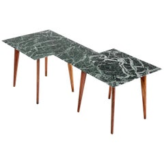 Gio Ponti Attributed Geometric Low Table with Marmo Verde Alpi Top, Italy, 1940s