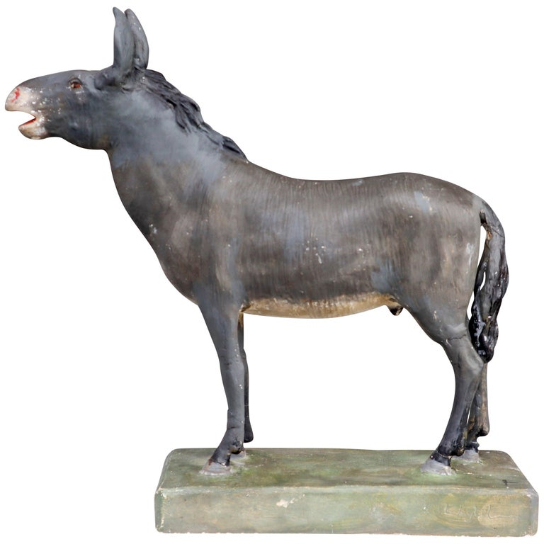 Early 20th Century Donkey Model in Painted Plaster, Germany, 1900 For Sale