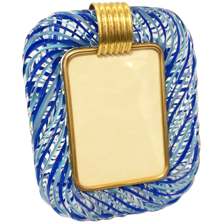 Barovier Toso Vintage Light and Dark Blue Crystal Murano Glass Photo Frame For Sale