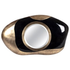 Chital Mirror in Black Pen Shell and Bronze-Patina Brass by Kifu Paris