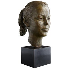 George Gách Bronze Portrait Bust of a Young Girl, 1976, Signed