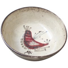 'Ceramic French Rooster Motif Bowl' by Gustave Reynaud - Le Mûrier, circa 1950s