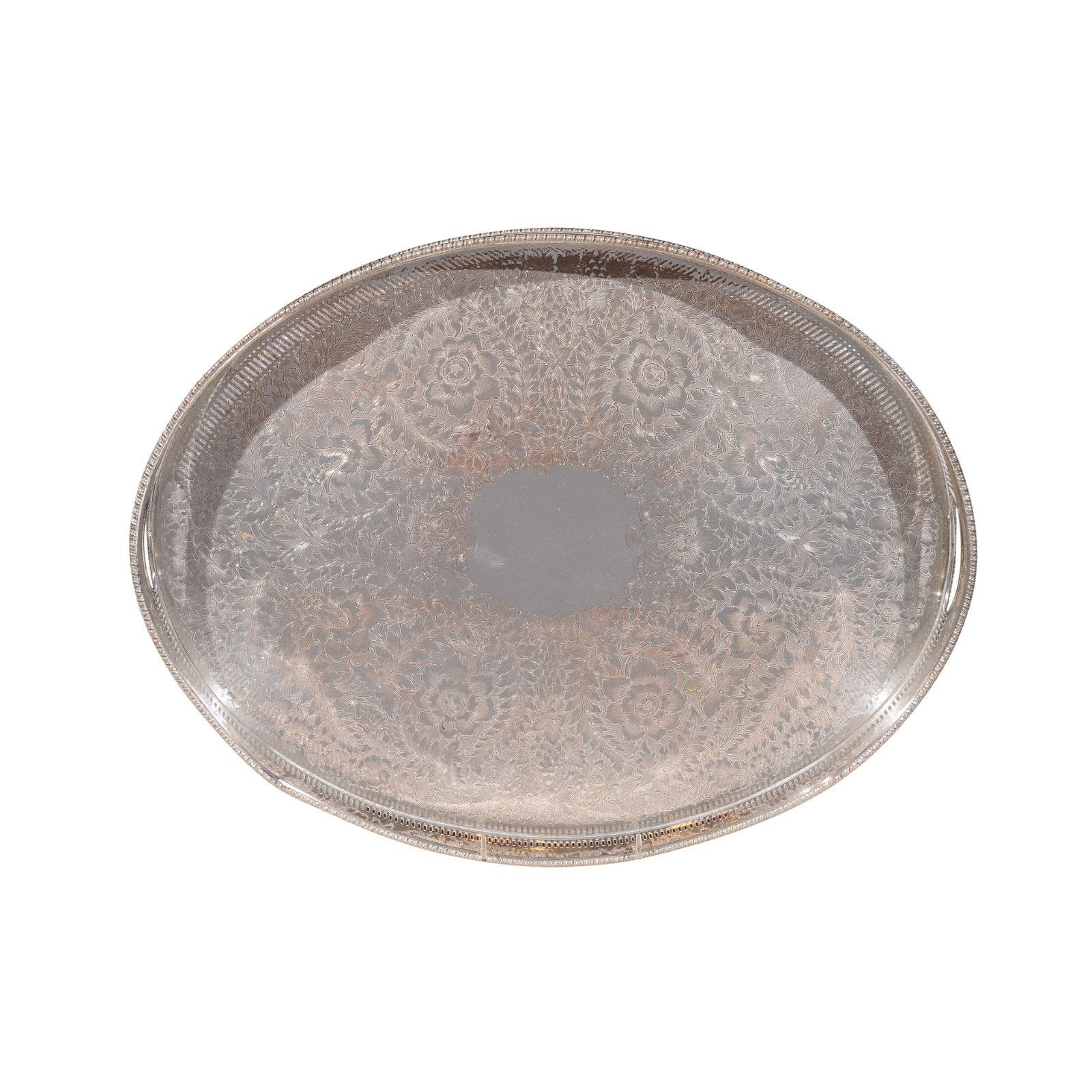 English Edwardian Period Silver Plated Tray with Floral Motifs and Petite Feet