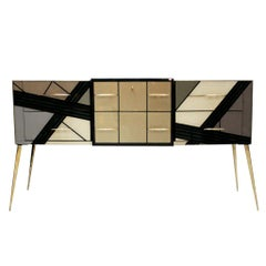 Mid-Century Modern Solid Wood and Colored Glass Italian Sideboard