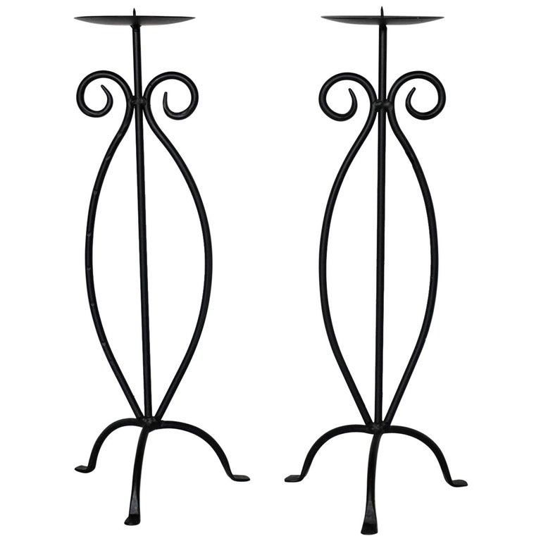 Midcentury Pair of Wrought Iron Tripod Candleholders For Sale