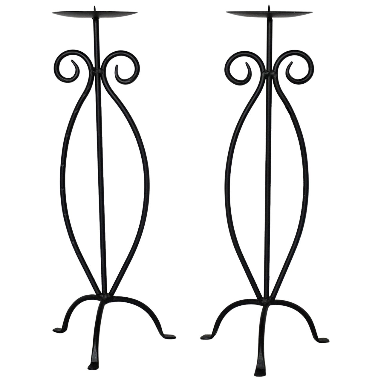 Midcentury Pair of Wrought Iron Tripod Candleholders