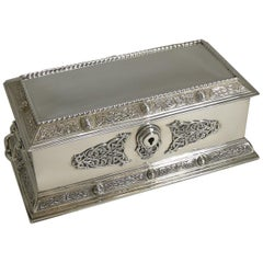 Large English Sterling Silver Jewelry Box by Elkington & Co., Celtic Design