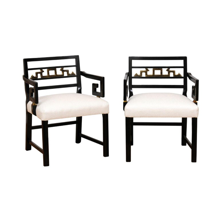 Exquisite Pair Of Modern Chinoiserie Greek Key Armchairs By Baker