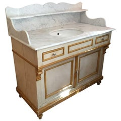 19th Century Italian Painted Wood Cupboard Sink with Carrara Marble Top, 1890s