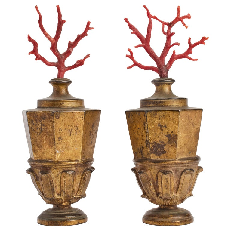 Neaples, Mid-19th Century Pair of Mediterranean Coral Branches For Sale