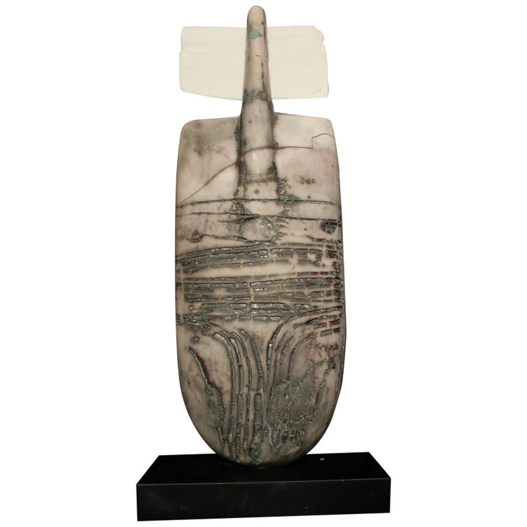 Raku Figure, Unique Handmade Ceramic Obelisk Sculpture with Porcelain Wings For Sale