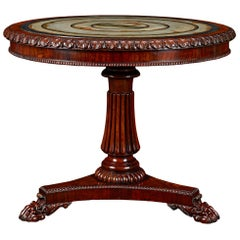 19th Century Rosewood and Pietra Paesina Specimen Table Attributed