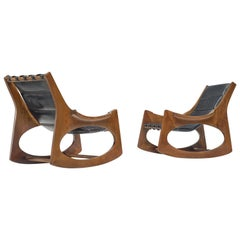Jordi Vilanova i Bosch Pair of Rocking Chairs in Walnut