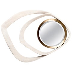 Matrix Mirror in Cream Shagreen and Bronze-Patina Brass by R&Y Augousti