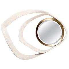 Matrix Mirror in Cream Shagreen and Bronze-Patina Brass by R&Y Augousti