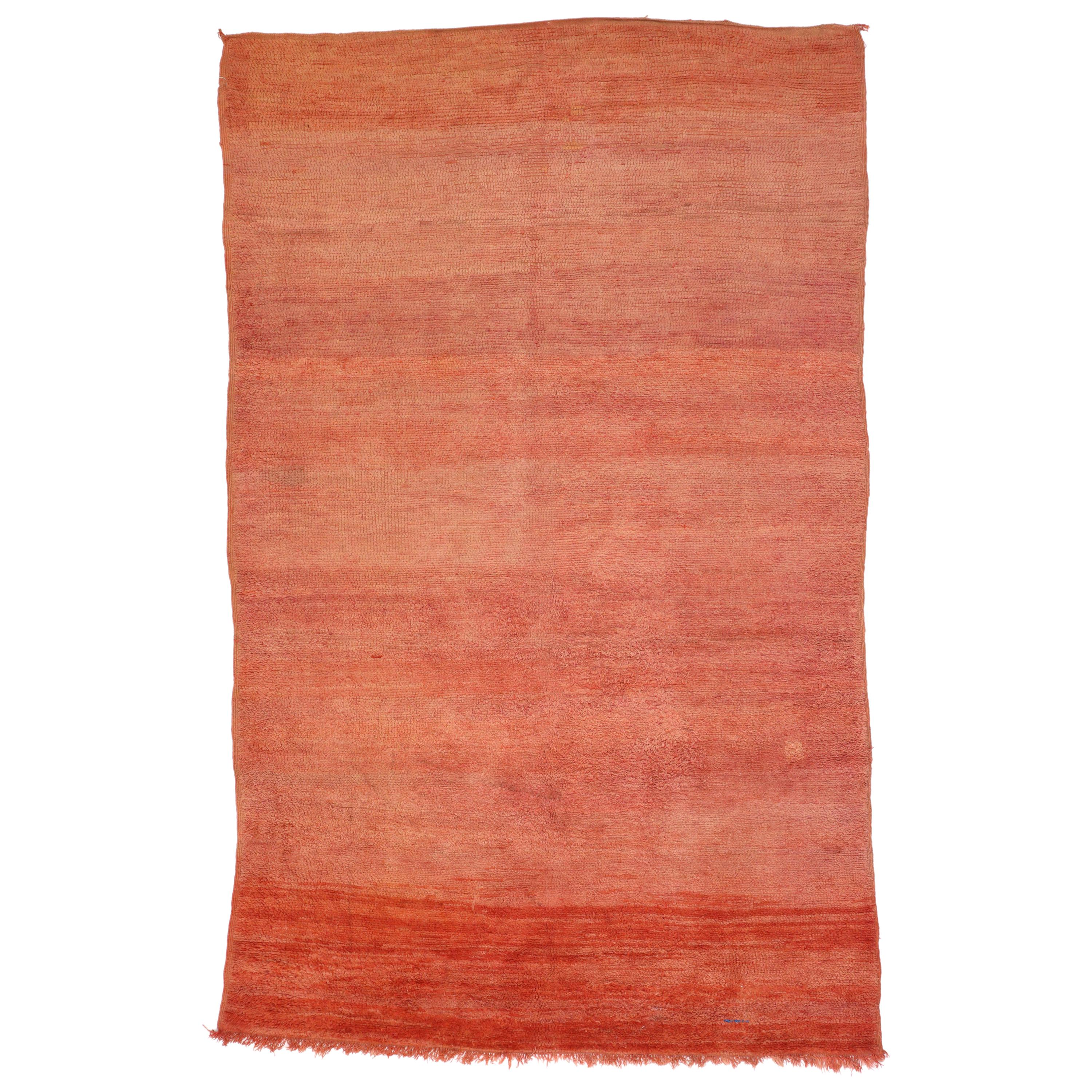 Vintage Berber Moroccan Rug, Red Moroccan Rug with Ombre Effect