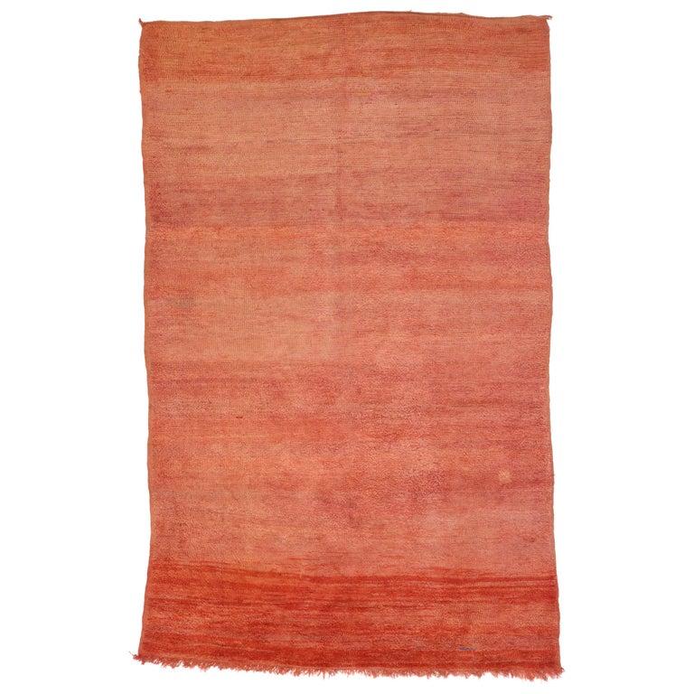 Vintage Effect Rug: Vintage Berber Moroccan Rug, Red Moroccan Rug With Ombre