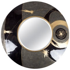 Constellation Mirror in Black Shagreen Shell & Bronze-Patina Brass by Kifu Paris