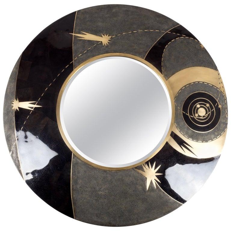 Constellation Mirror in Black Shagreen Shell & Bronze-Patina Brass by Kifu Paris For Sale