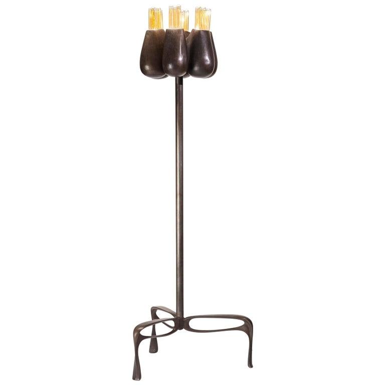 Truffula Floor Lamp, Patinated Cast Aluminum, Small, Jordan Mozer, USA, 2012 For Sale