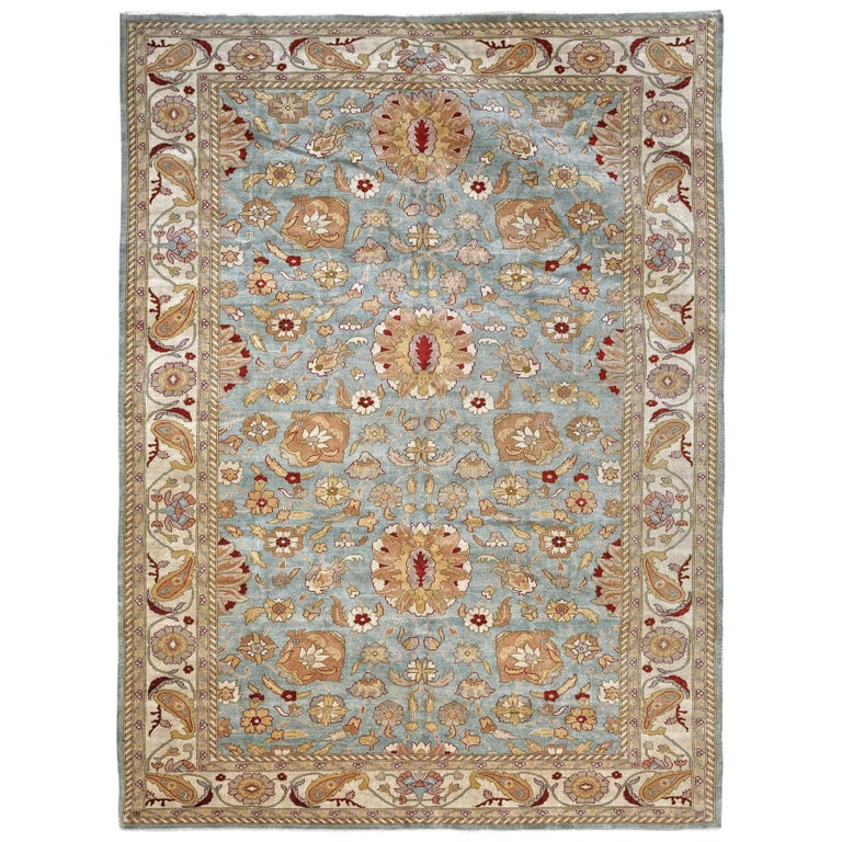 Ivory Wool And Silk Persian Naein Area Rug For Sale At 1stdibs: Ivory, Green And Gold Handmade Wool Distressed Big Size