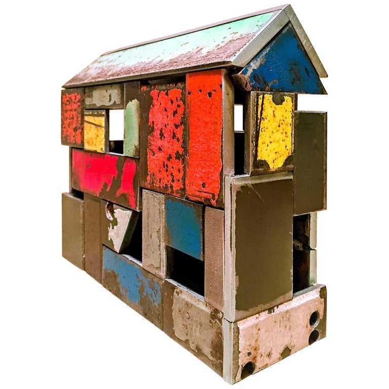 Barn House Structure, Welded Steel Decorative Object Made with Salvaged Steel For Sale