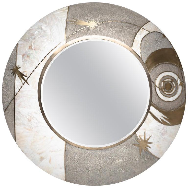 Constellation Mirror in Cream Shagreen Shell & Bronze-Patina Brass by Kifu Paris For Sale