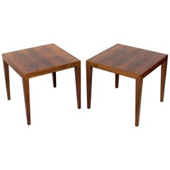 Pair of Danish Modern Rosewood Tables by Severin Hansen