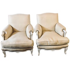 Pair of Hollywood Regency Louis XV Style Linen Bergere / Arm or Club Chairs