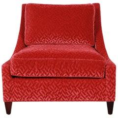 Baker Furniture Lounge Chair in Red Velvet Upholstery