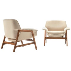 Gianfranco Frattini Pair of Easy Chairs '849' in Walnut