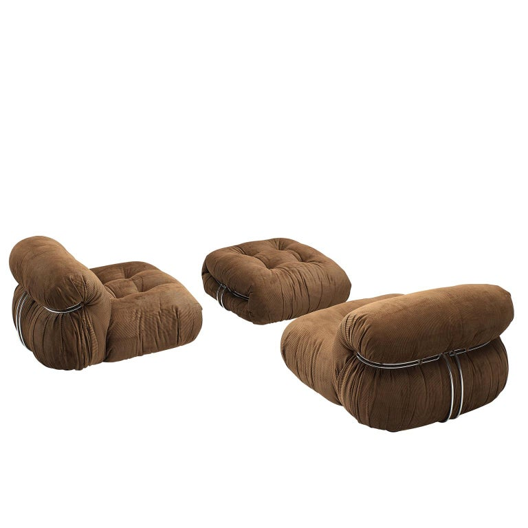 Scarpa Set of 'Soriana' Lounge Chairs with Ottoman in Brown Fabric For Sale