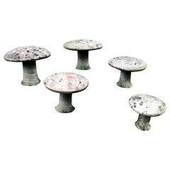 Set of 5 French Concrete Garden Mushroom Sculptures