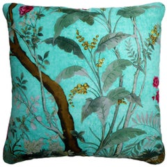 Vintage Cushions Luxury Bespoke Silk Pillow 'Kingfisher Foresta' Made in London