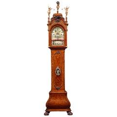 Dutch Striking Burl Walnut Tall Case Clock by Jonah Smith