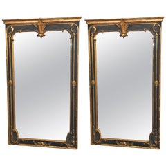 Pair of Neoclassical Ebony and Gilt Decorated / Wall / Pier or Console Mirrors