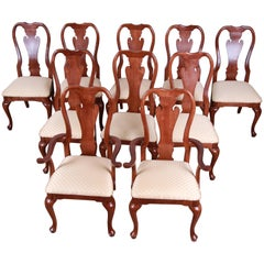 Solid Mahogany Queen Anne Style Dining Chairs, Set of 10